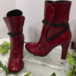 Marc Jacobs red patent leather booties